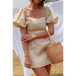 Verge girl puff sleeve linen dress in Natural